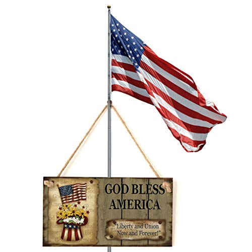 American 4th of July Independence Day Wooden Plaque Sign God Bless America for Home Party Shopping Mall Classroom Decoration Photo Prop 14k White Gold Statue