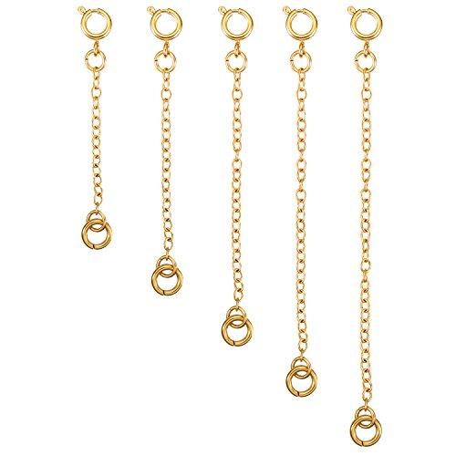 (Mudder 5 Pieces Necklace Extenders Bracelet Extender Chain Set for Necklace Bracelet DIY Jewelry Making (Gold))