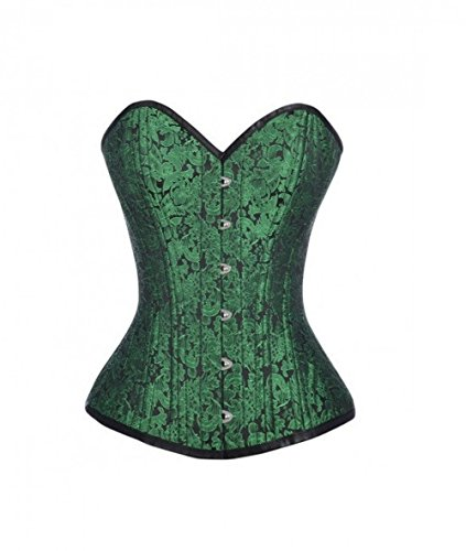 強要不利益責任Green Black Brocade Gothic Burlesque Waist Training Bustier Overbust Corset Top