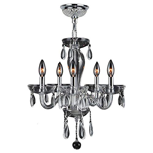 Brilliance Lighting and Chandeliers Gatsby 5-Light Clear Blown Glass Chandelier Small Mini 16 in W x 18 in H - Chrome
