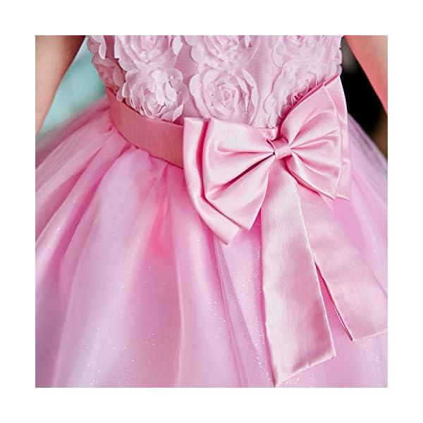 NNJXD Vestito Cerimonia Bambina,Ragazza Gonna a Fiori in Pizzo 3D Senza Maniche Vestito da Principessa delle Feste 6