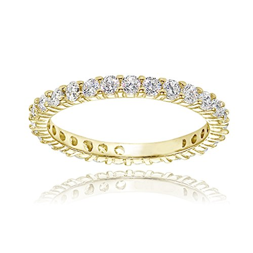 Yellow Gold Flashed Sterling Silver Cubic Zirconia 2mm Round-cut Eternity Band Ring by Hoops & Loops
