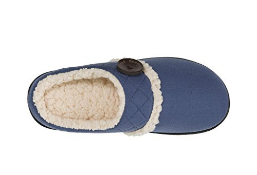 Dearfoams Womens Microsuede Clog Slipper with Memory Foam (XL M US Women, Indigo) ()
