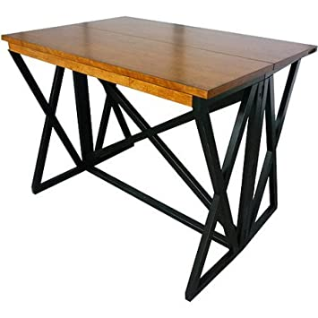 Modern Metal Wood Dining Kitchen Flip Top Table, Rectangle Shape,  Contemporary Style, Bar