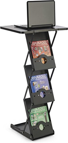 "Displays2go, 40""h Portable Knockdown Magazine Stands, Steel, MDF Construction – Black Finish (TSLHTBKBK) by Displays2go (Image #1)"