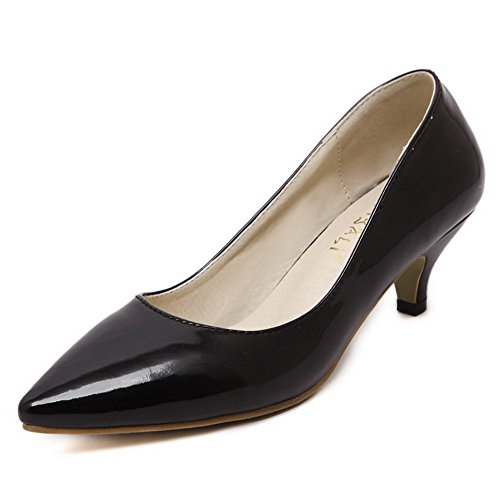 AllhqFashion Womens Pointed Closed Toe Kitten-Heels Patent Leather Solid Pull-On Pumps-Shoes Black aPLimT