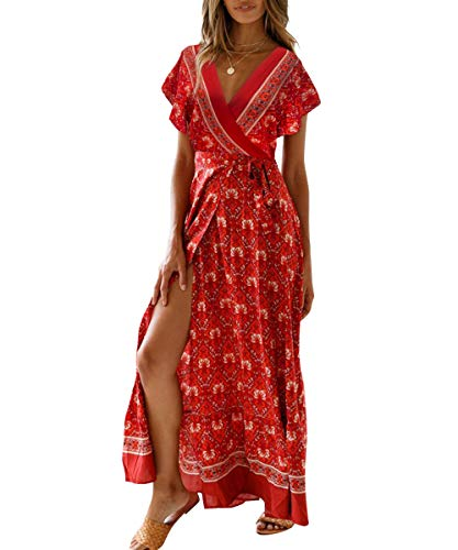 Women's Boho V Neck Wrap Vintage Floral Print Short Sleeve Split Flowy Beach Party Maxi Dress (Medium, Wine red)