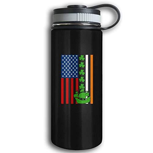 Kkidj Ooii Irish Flag American Flag Ship 17oz Stainless Steel Vacuum Insulated Water Bottles