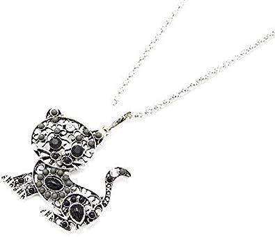 CC590-Collar con colgante de metal, diseño de gato con piedras, diseño de perlas, color Gris/negro/plata-modo de fantasía