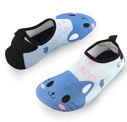 SENFI Jungen Mädchen Wasser Schuhe Mutifunctional Barfuß Quick Dry Aqua Schuhe Für Strand Pool Übung (Kleinkind / Little Kid / Big Kid) 033blau