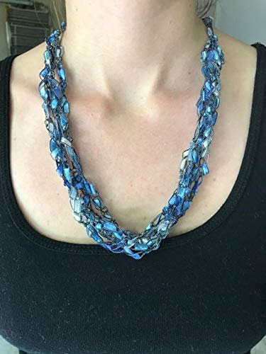 (Adjustable Crochet Yarn Necklace Scarf Ladder Trellis Ribbon Blue Silver )