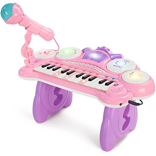 Best Choice Products 24-Key Kids Toddler Learning Musical Electronic Keyboard w/ Lights, Drums, Microphone, MP3 - Pink by Best Choice Products