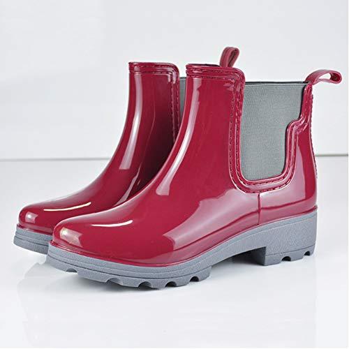 fereshte Red Boots Rain Slip Short Women's Ankle Waterproof Chelsea On C Booties 7Pqrwg7