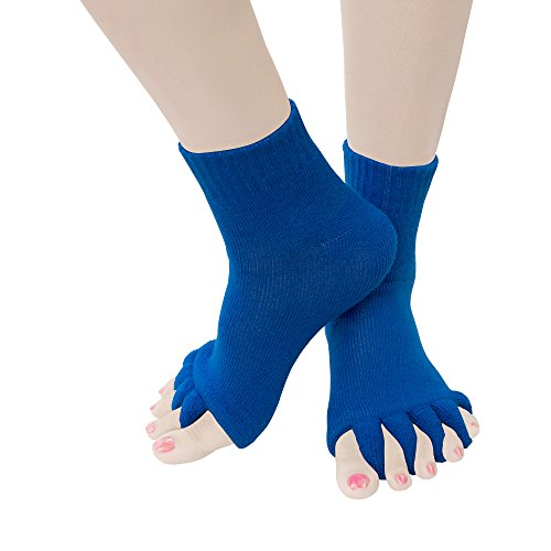Toe Separator Yoga Gym Sports Massage Socks for Foot Alignment, Great for Sore Feet and Diabetics by TRiiM Fitness with FREE Exercise guide! (Blue)