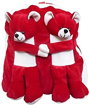 Punyah Creations Premium Quality Super Cute Twins Teddy Toy Soft Plush Backpack School Bag for Kids