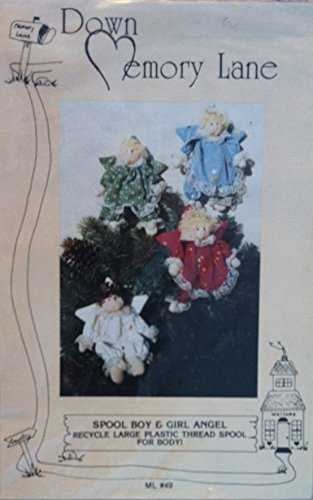 Down Memory Lane Sewing Pattern for Boy and Girl Spool Angel Ornaments #49