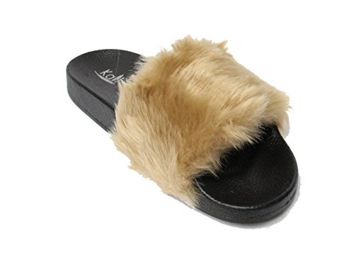 Kali-Footwear-Womens-Slip-on-Flip-Flop-Faux-Fur-Slide-Soft-Flat-Slipper-Mule-Sandals-Limit