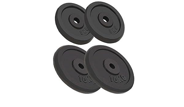 Tidyard Discos de Pesas Hierro Fundido de Gimnasia Casera Equipo 2 x 10 kg + 2 x 5 kg Negro: Amazon.es: Hogar