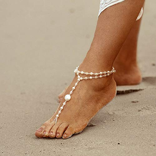 Nicute Wedding Crystal Anklet White Layered Ankle Bracelets Boho Barefoot Sandal Beach Foot Chain for Women and Girls(1 Piece) ()