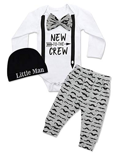 DONWEN Newborn Baby Boy Clothes New to The Crew Letter Print Romper+Long Pants+Hat 3PCS Outfits Newborn]()
