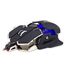 Masione® USB 4800DPI 10 Button LED Optical Gaming Mouse for PC and Laptop (Black & White)