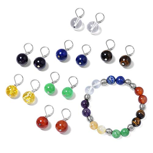 - Shop LC Delivering Joy 7 Chakra Yoga Reiki Healing Energy Round Beads Dyed Color Green Jade Lever Back Dangle Drop Earrings Bead Strand Bracelet Jewelry Set Hypoallergenic Stretchable