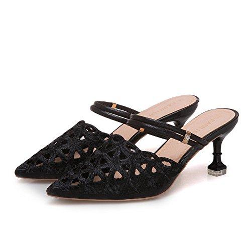 VIVIOO Pumps,Damen Pumpshigh High Heels Kleid Schuhe Frau Hausschuhe High Pumpshigh Heels Spitz Sandalen Frauen Slides Thin Heels Slipper schwarz 52a882