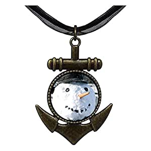 Chicforest Bronze Retro Style Real Snowman Anchor Pendant