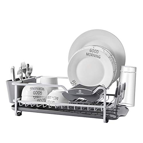 - Aluminum Dish Rack with Expandable Over the Sink, In Sink Dish Drying Rack and Drain Broad, Removable Cutlery Holder, Anti-scratch Cup Holder (112040)
