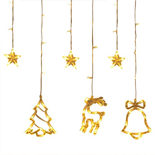 Iusun Curtain Lights Lanterns Pendant Christmas Hanging Decorations Exquisite Ornament DIY Xmas Tree Holiday New Year Decor (Hanging New Curtains)