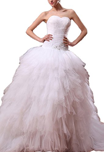 Angel Formal Dresses Applique Sweetheart Cathedral Train Wedding Dresses(16,White) (Sweetheart Cathedral Train)