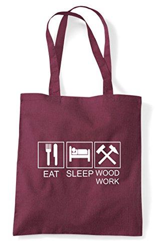 Tiles Woodwork Sleep Eat Hobby Bag Burgundy Tote Activity Shopper Funny RnPwFd5xw