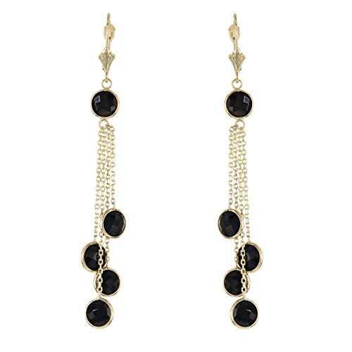 14k Yellow Gold Chandelier Earrings With Black Onyx Gemstones