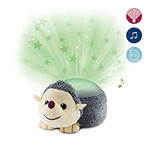 Soothing Starlight Nightlight Toy Projector – Soft Plush Animal with Starry Projections, Soft Musical Lullabies, Color Changing, Cry Sensor, Auto-off, Battery Operated – Harry the Hedgehog by ZazuKids