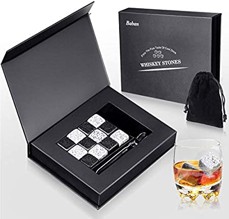 Baban Whisky Piedras 12pcs,Cubitos de Hielo para Whisky Reutilizables, 6 Negras + 6 Grises Piedras de Whisky, Hermoso Paquete
