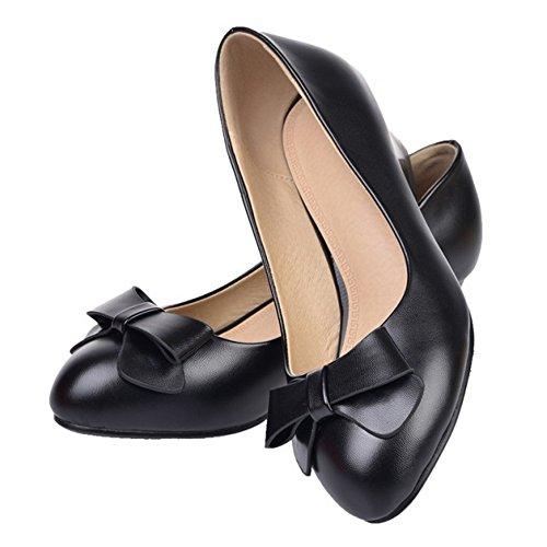 COOLCEPT Mujer Moda sin Cordones Boca Baja Zapatos Cerrado Tacon Ancho Zapatos con Bowknot Negro