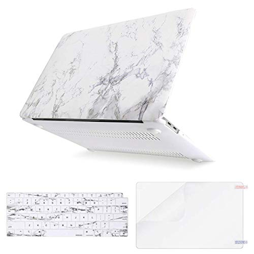 MOSISO MacBook Air 13 Inch Case 2018 Release A1932 with Retina Display, Plastic Pattern Hard Case Shell & Keyboard Cover & Screen Protector Only Compatible Newest MacBook Air 13, White Marble
