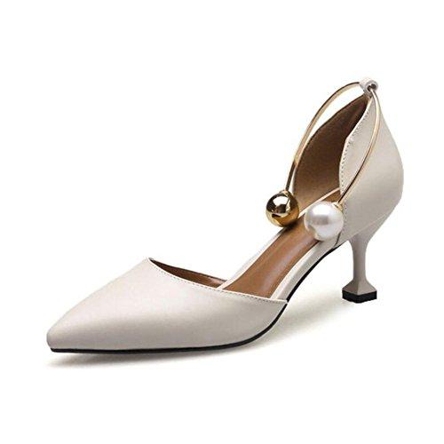 SHINIK Zapatos de mujer de cuero de verano Bomba básica talones puntiagudos perla para negro, beige, marrón UN