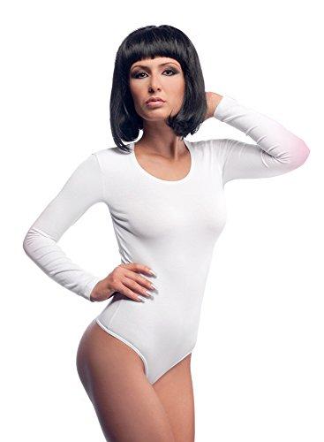 krisli Mujer Manga Larga Body con cuello redondo blanco