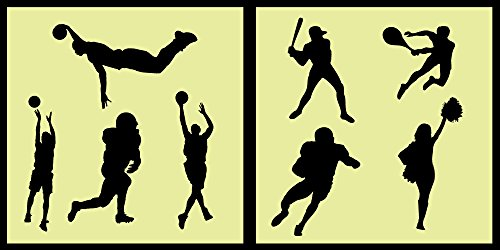 - Auto Vynamics - STENCIL-REGSPORTS01-10 - Detailed Classic Sports / Athletics Stencil Set - Football, Baseball, Tennis, & Cheerleading! - 10-by-10-inch Sheets - (2) Piece Kit - Pair of Sheets