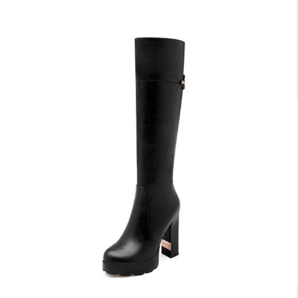FMWLST Stiefel Frauen Stiefel Runde Flache Schuhe Reißverschluss Nieten Kniehohe Stiefel High Heels