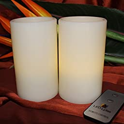 Flameless Wax Candles With Remote by LED Lytes, 2 Pale Yellow Flickering Faux Pillars, Fake Battery Operated Candle Light for Weddings and Parties