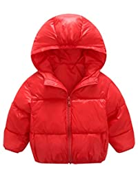 Mengxiaoya Baby Boys Girls Down Jacket Kids Hoodie Coat Winter Outerwear Solid