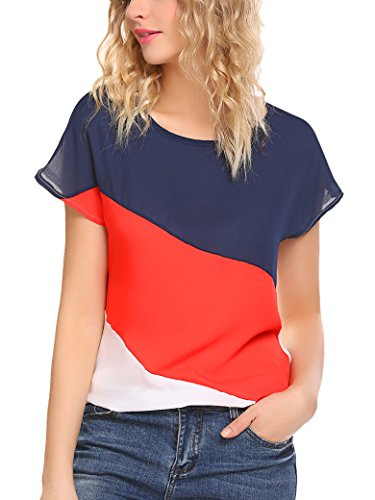 Locryz Women's Color Block Blouse Tops Short Sleeve Casual Tee Shirts Blue Red White (Red Blue T-shirt)