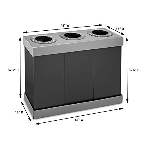 Alpine Industries Recycling Center 28 Gallons - Durable Plastic Waste/Trash Organizer Ideal for Kitchen Office Hospital Commercial Use (3 Bins) by Alpine (Image #3)