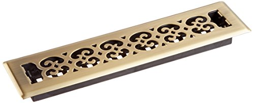 Decor Grates SPH214-A 2-Inch by 14-Inch Scroll Floor Register, Antique Brass