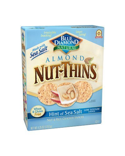 Blue Diamond Almond Nut-Thins Hint of Sea Salt Nut & Rice Cracker Snacks 4.25oz(Pack of 3)