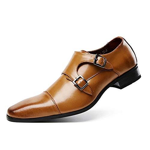 Tan 43 EU Chaussures de mode, Hommes d'affaires Oxfords Pour Hommes Chaussures En Cuir Trois Articulations Boucles Monk Bretelles Captoe Robe Habillée Chaussures Oxford Chaussures de personnalité, chaussures Ox