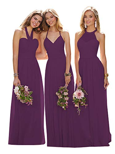 (Women's Halter A Line Pleated Chiffon Bridesmaid Dresses Long Formal Prom Party Gown Plum Plus Size 16)