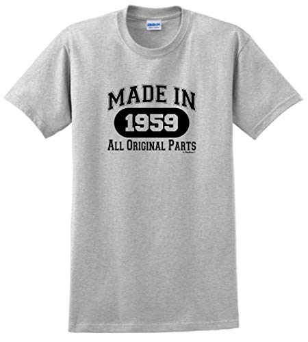 60th Birthday Gift Made 1959 All Original Parts T-Shirt XL Ash -